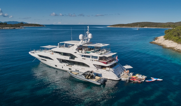 The most fun yacht on the water: Happy Me (featuring Pool Table, Gym, BBQ, Bar & a rib for watersports)